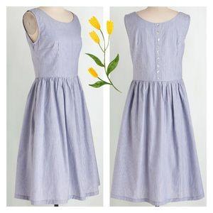 Modcloth Bibico Blue Stripe Fair-trade Dress L